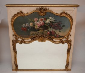Painted Trumeau, Floral On Panel In Rococo Frame With
