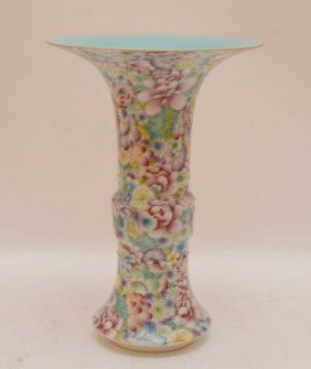 """Chinese Porcelain Vase With Floral Decoration, 9"""" Tall"""