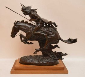 Bronze Indian On Horse, Signed Indistinctly, Attached