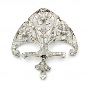 Art Nouveau Diamond Platinum Pendant