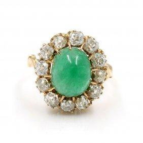 Victorian Emerald & Diamond Gold Ring