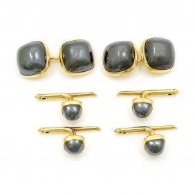 Hematite 14k Gold Cufflinks & Studs Set