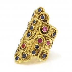 Lalaounis Sapphire Ruby 18k Gold Byzantine Style Ring