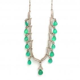 Emerald Diamond Platinum Necklace