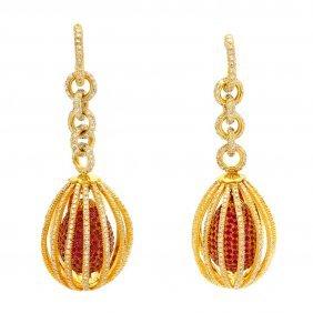 Diamond Ruby 18k Gold Drop Earrings