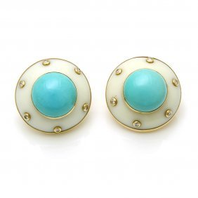 White Coral Turquoise Diamond Earrings