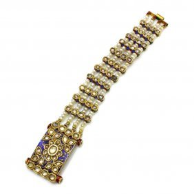 22k Gold Diamond Pearl Enamel Indian Bracelet
