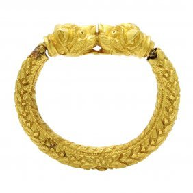 Old Indian 22k Gold Animal Head Bangle Bracelet