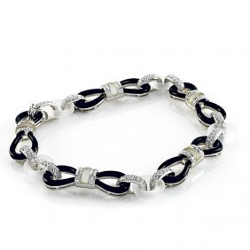 Diamond Rock Crystal Onyx 18k White Gold Bracelet By