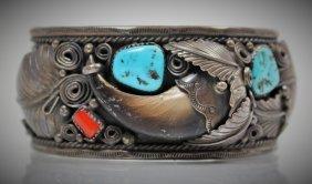 Vintage Navajo Sterling Coral & Turquoise Bracelet
