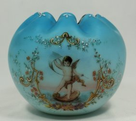 Blue Victorian Satin Glass Bowl