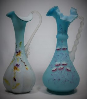 Pair Blue Satin Pitchers With Floral Decorations