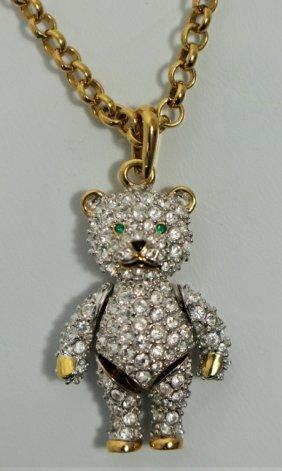 Swarovski Mechanical Teddy Bear Pendant & Necklace