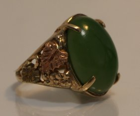 Extraordinary Chinese Jade & 14kt Gold Ring
