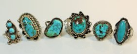 Collection Of 6 Indian Turquoise & Sterling Rings
