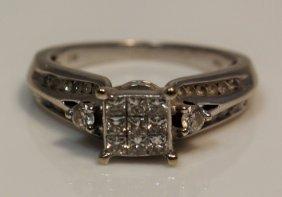10kt White Gold & Princess Cut Ladies Diamond Ring