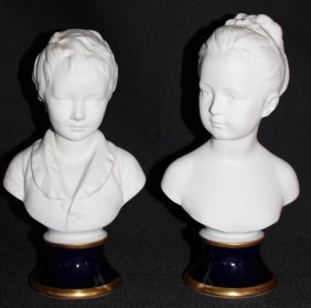 Pair Vintage Limoges Bisque Busts Of Children