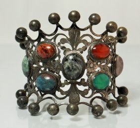 Antique Persian Silver & Jeweled Heavy Cuff