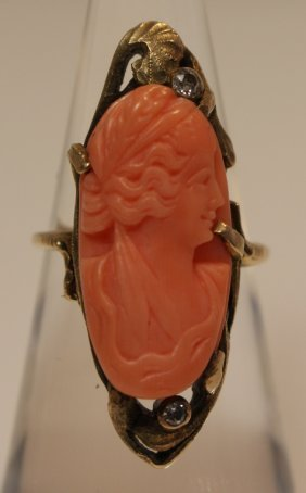 Antique 14kt Yellow Gold & Carved Coral Cameo Ring