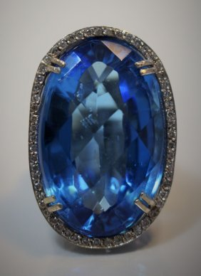 Huge 14kt White Gold Diamond & Topaz Ring