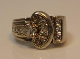 Estate 14kt White Gold & White Amethyst Ring