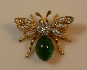 18kt Gold Diamond Emerald & Mechanical Bee Pin