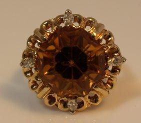 14kt Yellow Gold Diamond & Citrine Ladies Ring