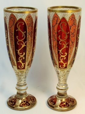 Pair Of Antique Moser Vases