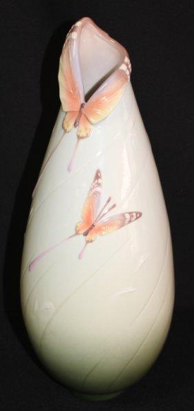 Large Butterfly Porcelain Vase Signed Franz
