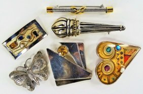 Collection Of 6 Silver Pins/brooch