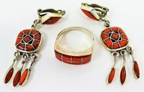 Navajo Zuni Sterling Silver & Coral Jewelry Suite