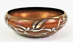 Heintz Art Metal Shop Sterling On Bronze Bowl