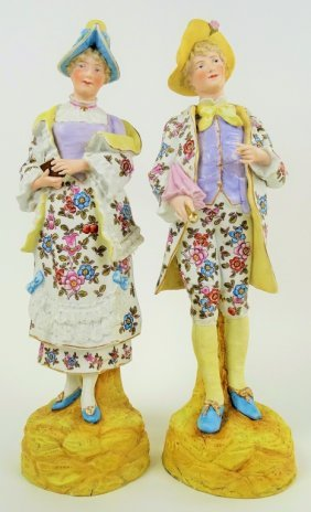 Pair Of Antique French Bisque Large Figurines