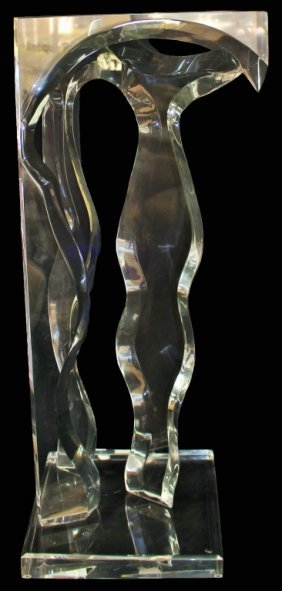 Large Mid Century Abstract Lucite Sculpture