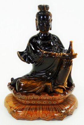 Chinese Carved Tiger Eye Guan Yin Figurine W/ Base