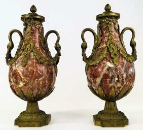 Pair Of Gilt Bronze Mounted Marble Urns