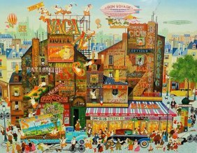 Large Hiro Yamagata Lithograph Street Scenes
