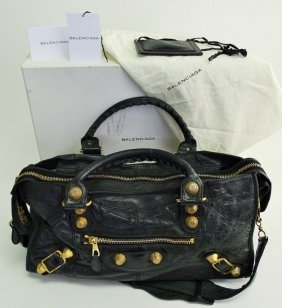 Womans Balenciaga Textile Tote Bag