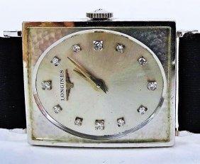 Longines Vintage 14kt White Gold & Diamond Watch