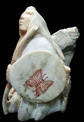 Heavy Alabaster Sculpture Of Indian Warrior Chief