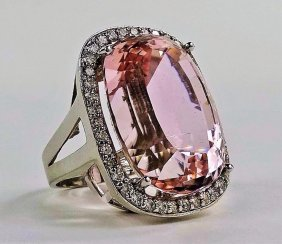 Estate 14kt White Gold 76ct Kunzite & Diamond Ring