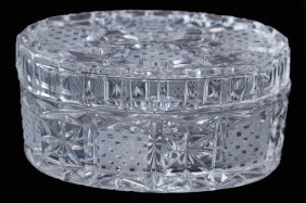 Vintage Crystal Covered Oval Dresser Box