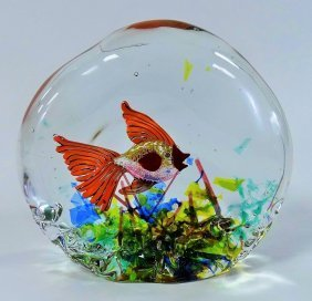 Artist Signed Murano Glass Aquarium