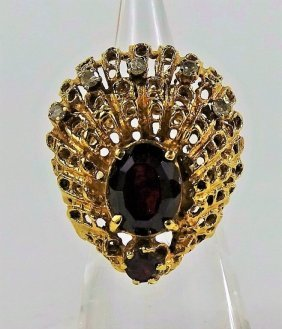 14kt Gold Nugget Ladies Ring Diamond & Rubelite