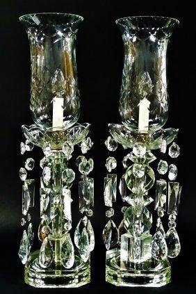 Vintage 1930's Etched Glass Prism Boudoir Lamps