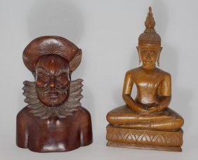 2 Asian Carved Wooden Figures