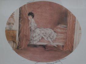 Louis Icart Print Peaking Behind The Curtain