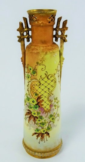 Tall Porcelain Turn Teplitz Rstk Hand Painted Vase