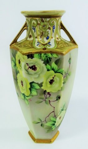 Tall Porcelain Nippon Hand Painted Vase