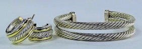 David Yurman 925/ And 14kt Y Gold Suite